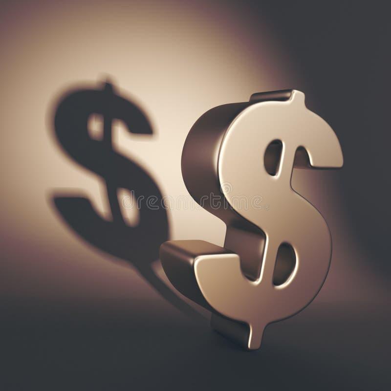 Ejemplo oscuro del símbolo 3D del dólar Sistema de la economía de sombra stock de ilustración