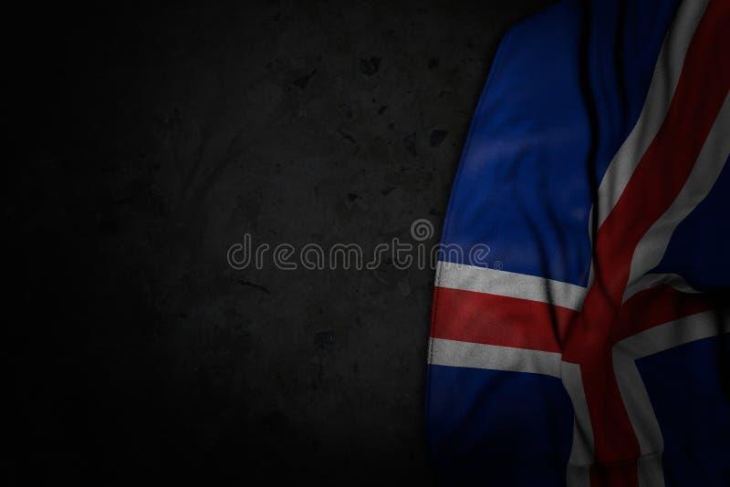 Ejemplo oscuro hermoso de la bandera de Islandia con los dobleces grandes en piedra negra con el lugar vacío para el texto - cua libre illustration