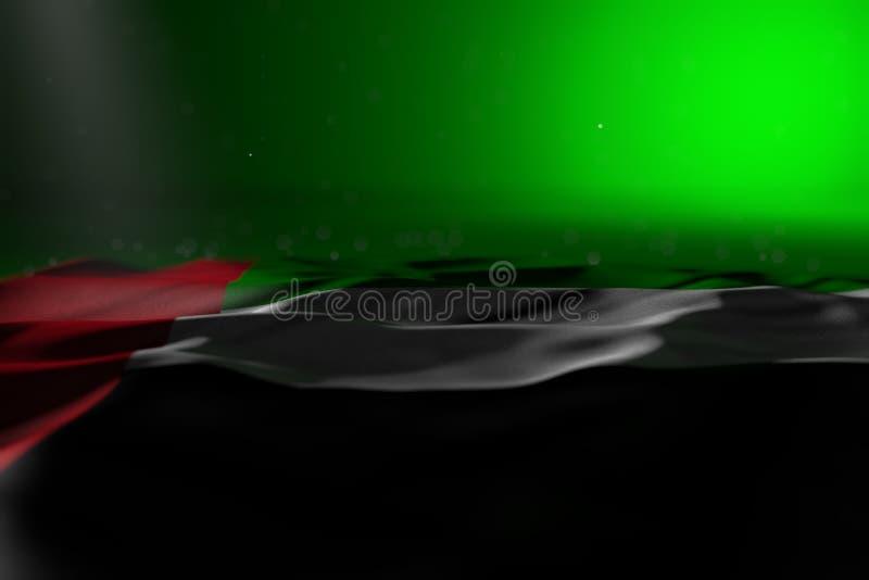 Ejemplo oscuro lindo de la bandera de United Arab Emirates que miente en fondo verde con el foco selectivo y del espacio vacío pa stock de ilustración
