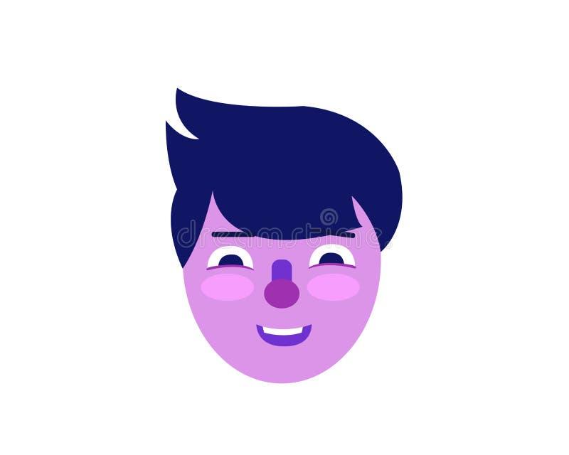 Ejemplo púrpura de la cara del hombre en estilo plano stock de ilustración