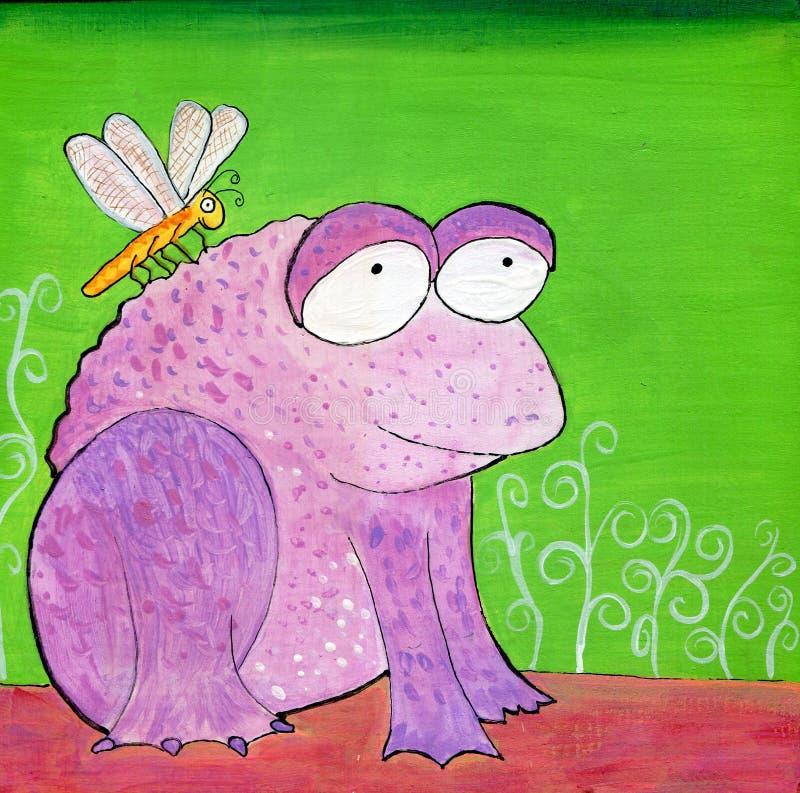 Ejemplo púrpura extraño pintado a mano de la rana y de la libélula stock de ilustración