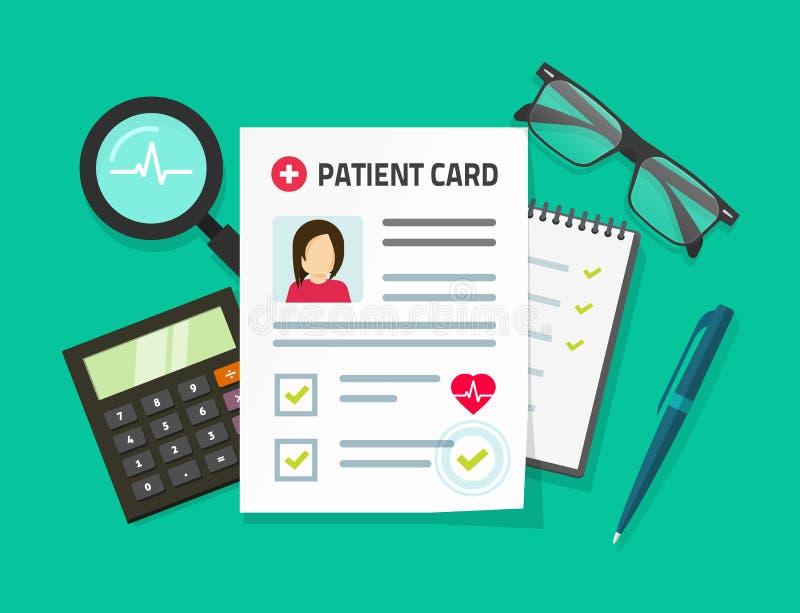 Ejemplo paciente del vector de la tarjeta, documento de informes médicos plano de la historieta y datos del paciente ilustración del vector