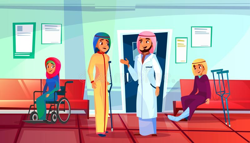 Ejemplo paciente musulmán del vector del doctor de la visita ilustración del vector