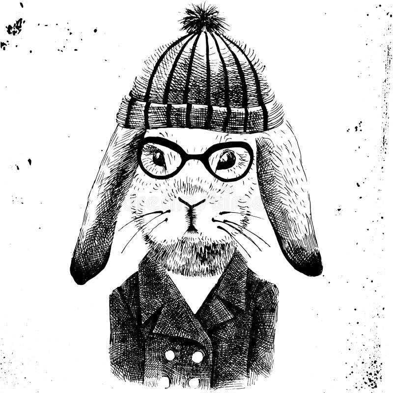 Ejemplo para arriba vestida de la muchacha de conejito stock de ilustración