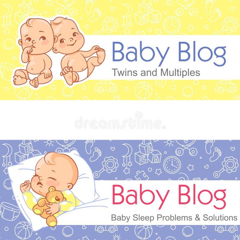 Ejemplo para el blog Beb?s gemelos Beb? durmiente stock de ilustración