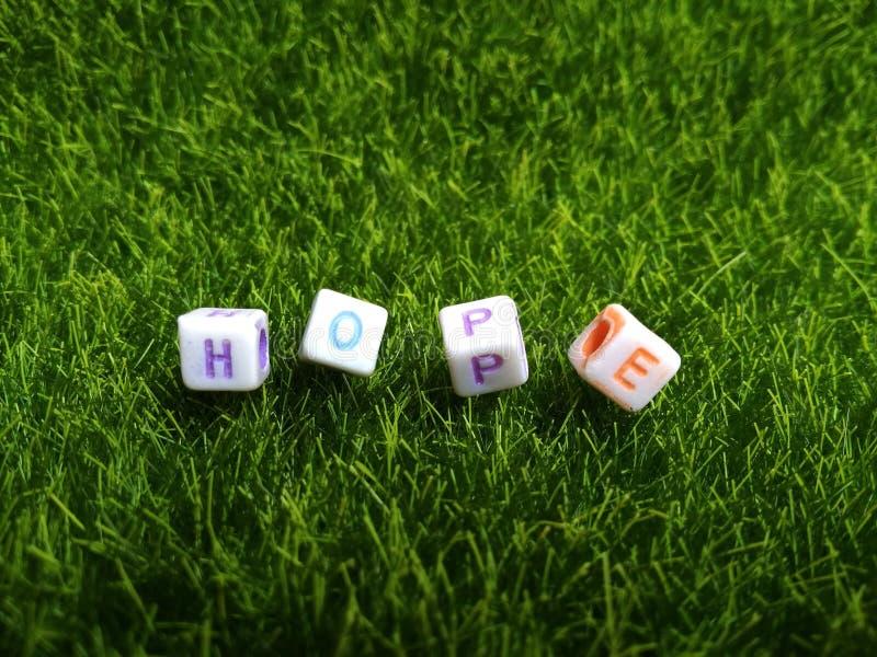 Ejemplo para la esperanza, gota plástica del alfabeto en la hierba verde artificial imágenes de archivo libres de regalías