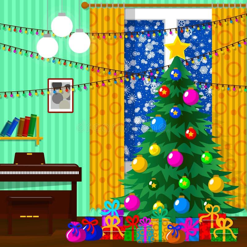 Ejemplo para la Navidad Árbol de navidad, regalos, copos de nieve libre illustration