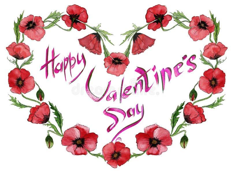 Ejemplo para la tarjeta de la tarjeta del día de San Valentín Las flores rojas de la amapola están haciendo un marco en forma de  stock de ilustración