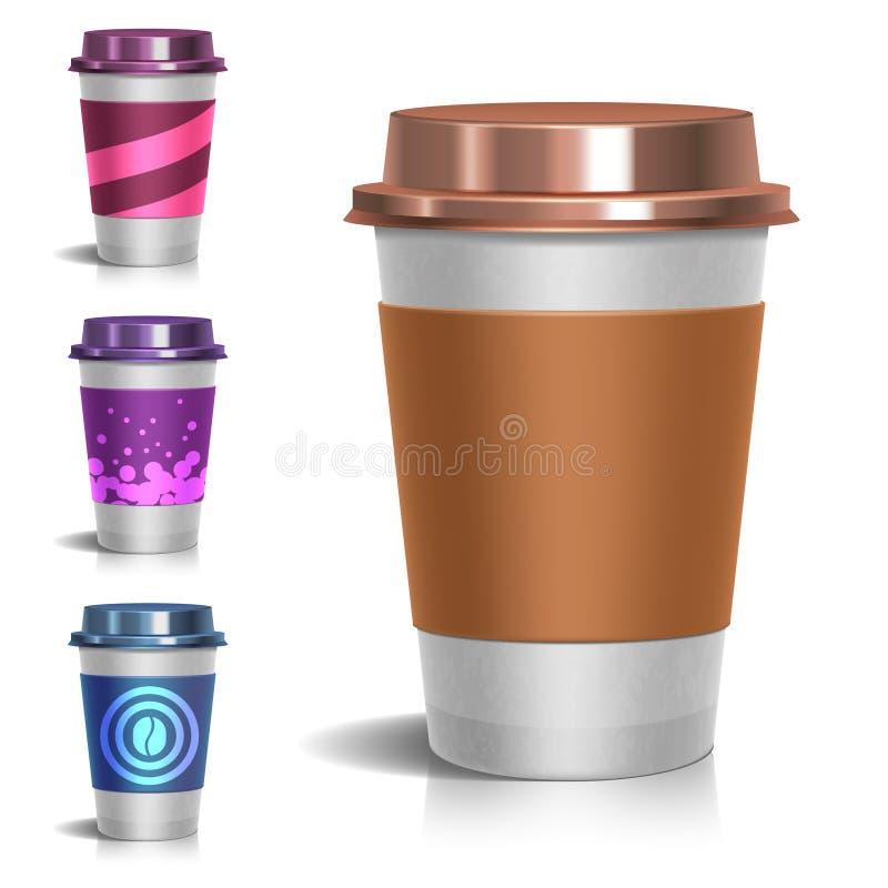 Ejemplo para llevar de papel realista del vector de la taza de café en blanco stock de ilustración