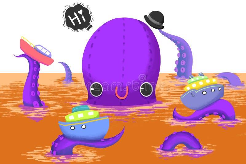 Ejemplo para los niños: ¡El monstruo grande del pulpo dice hola a usted! stock de ilustración
