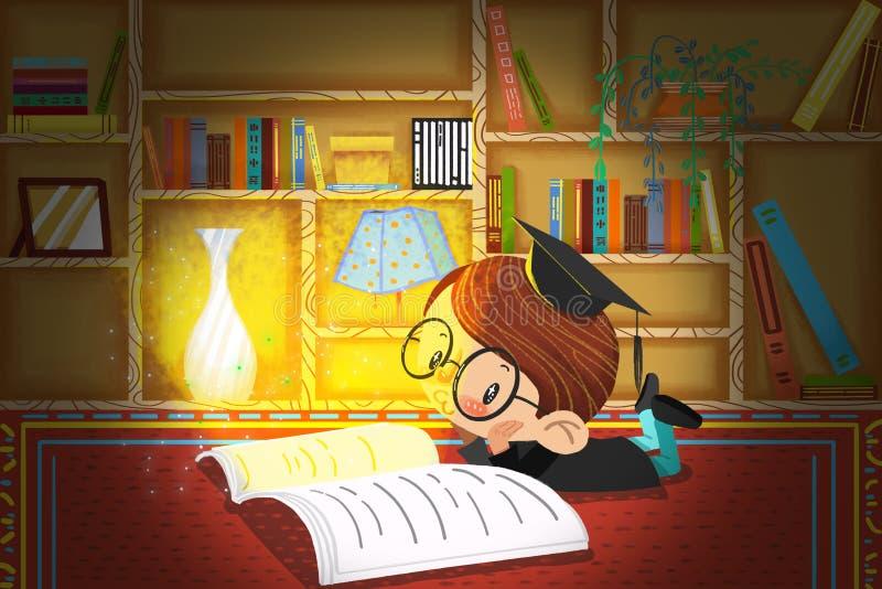 Ejemplo para los niños: El pequeño doctor es de lectura y de pensamiento en el estudio en la noche stock de ilustración