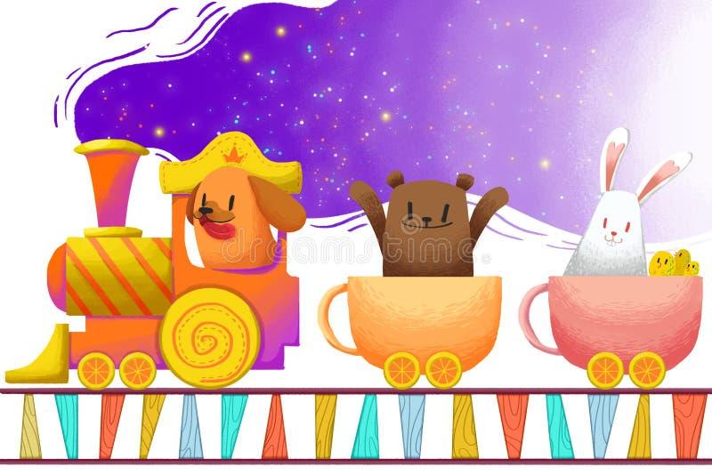 Ejemplo para los niños: El tren de la taza lleva los pequeños animales, dirigidos lejos stock de ilustración