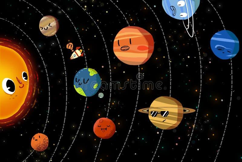 Ejemplo para los niños: Los planetas felices en Sistema Solar ilustración del vector