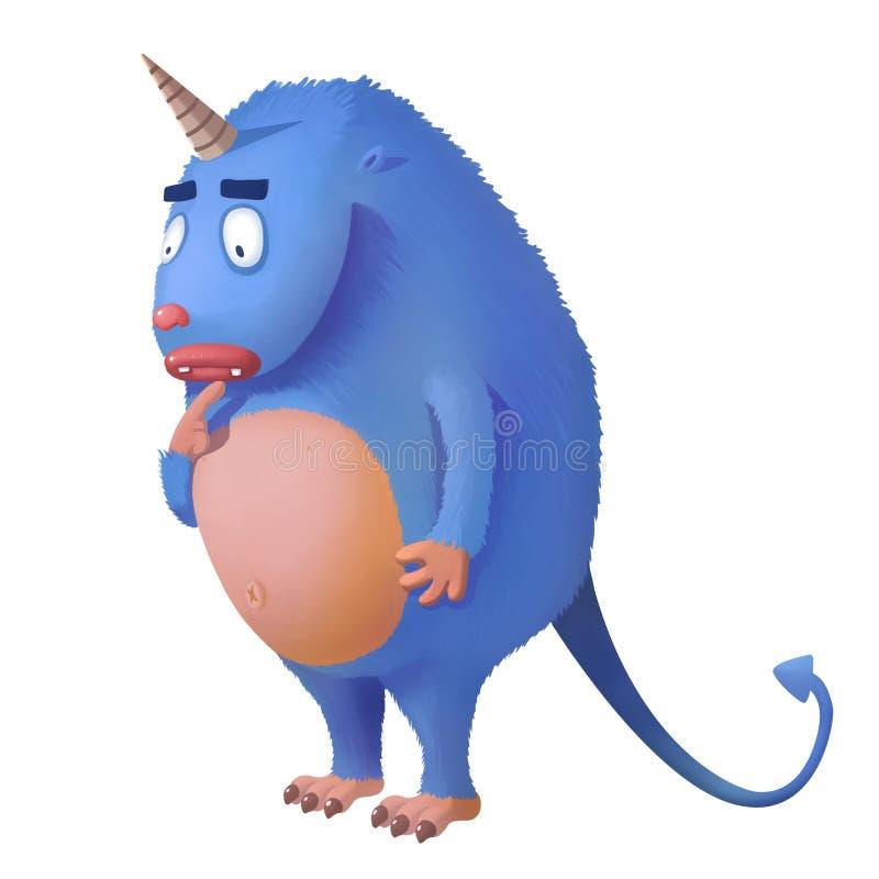 Ejemplo para los niños: Unicorn Monster Standing perdido en fondo blanco aislado stock de ilustración