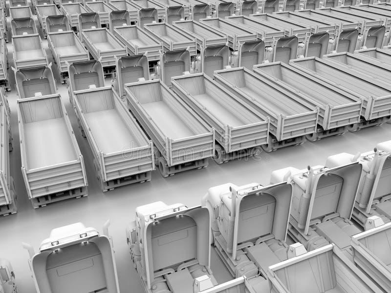 Ejemplo parqueado de los camiones stock de ilustración