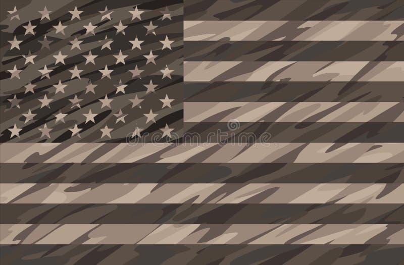 Ejemplo patriótico del vector de la bandera de Tan Camo los E.E.U.U. del desierto stock de ilustración