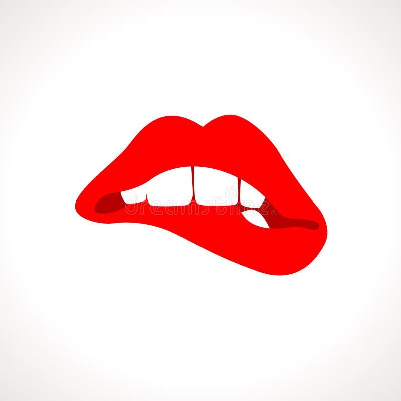 Ejemplo penetrante de Popart de los labios de la mujer del vector ilustración del vector