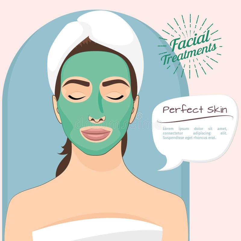 Ejemplo perfecto del vector de la piel Mujer hermosa con la peladura de la mascarilla verde ilustración del vector