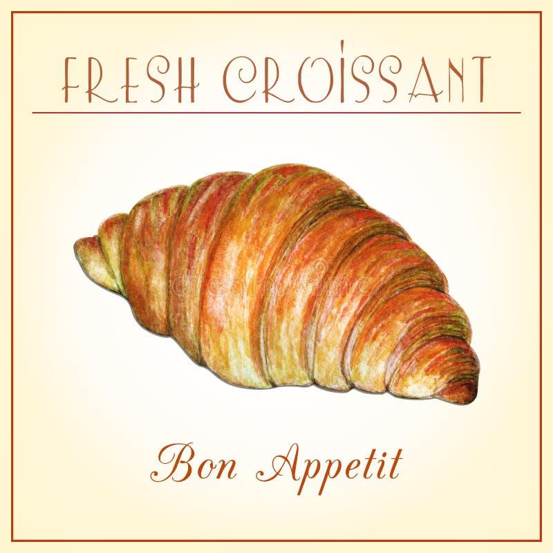 Ejemplo pintado a mano de la acuarela del cruasán cocido fresco en fondo beige Ejemplo delicioso de la comida Cartel diseñado ade stock de ilustración