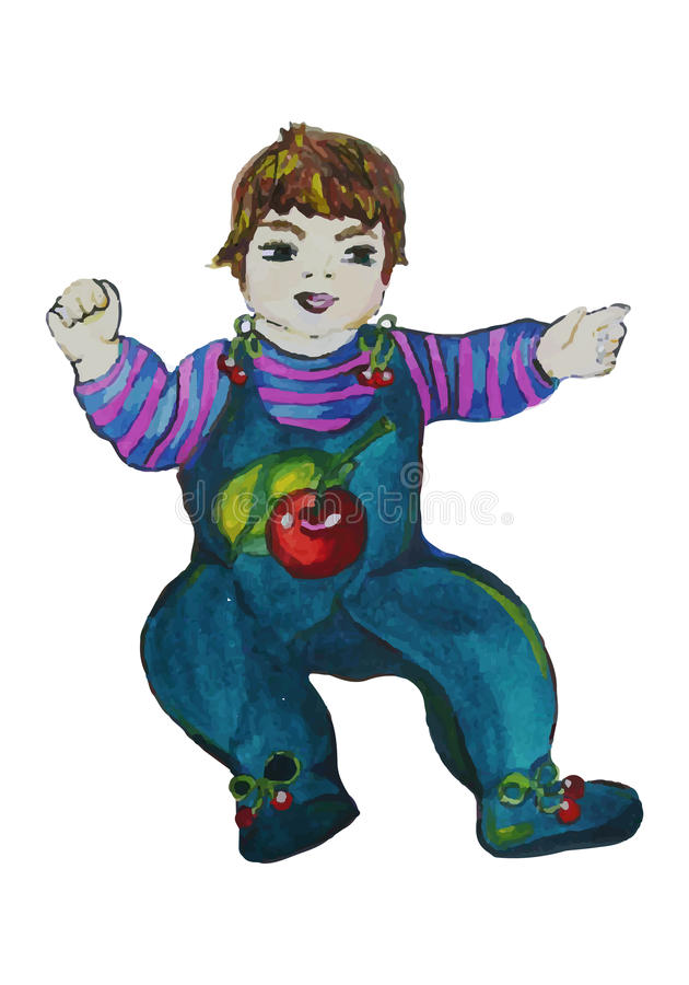 Ejemplo pintado a mano de un muchacho en resbaladores con las cerezas en o libre illustration