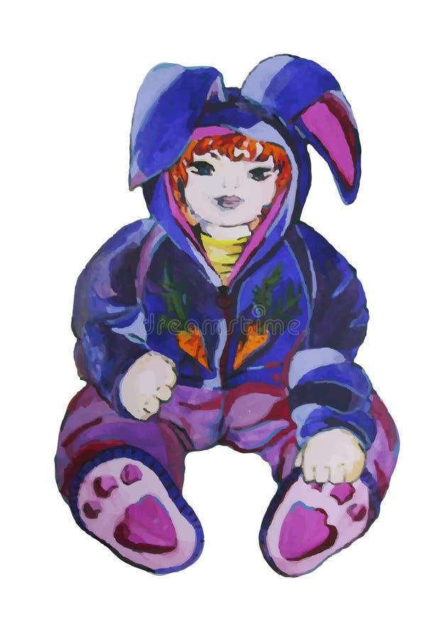 Ejemplo pintado a mano de un niño en un traje del conejito stock de ilustración