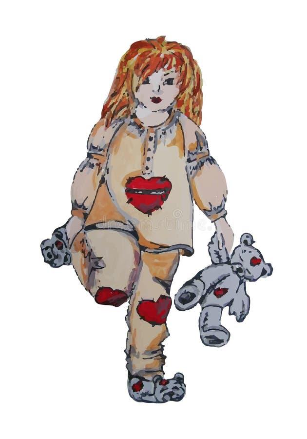 Ejemplo pintado a mano de un niño Muchacha en pijamas con el oso de peluche stock de ilustración