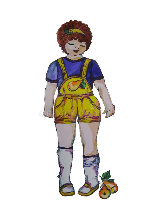 Ejemplo pintado a mano de un niño Muchacha rizada en guardapolvos con una pera stock de ilustración