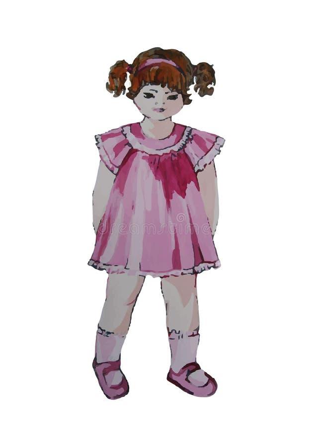 Ejemplo pintado a mano de un niño Muchacha rizada en vestido rosado libre illustration