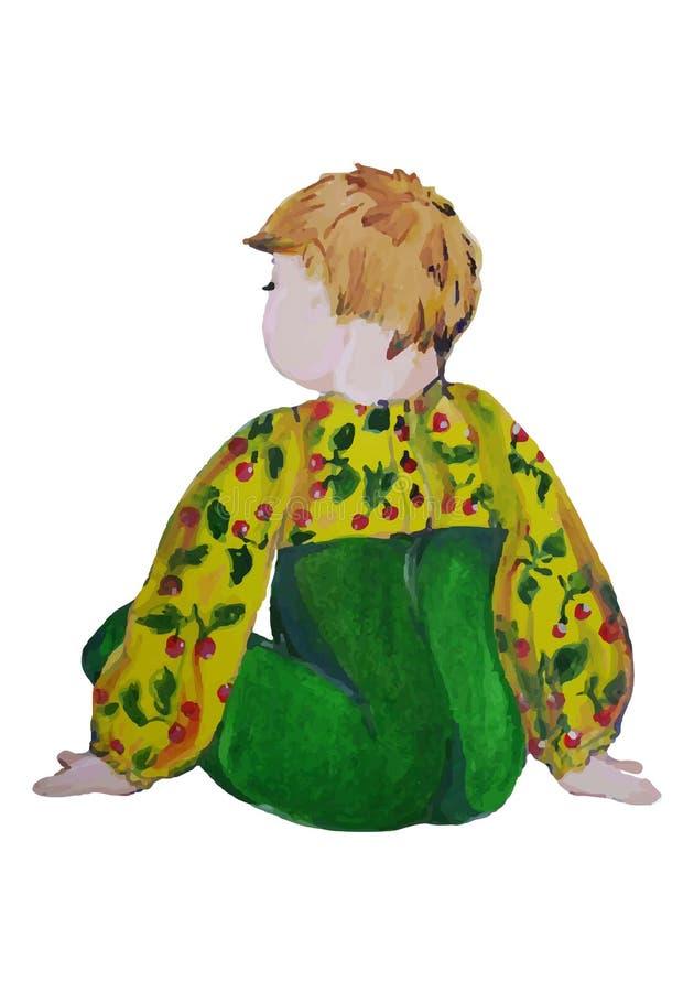 Ejemplo pintado a mano de un niño Niño en los resbaladores y la blusa verdes con las cerezas stock de ilustración