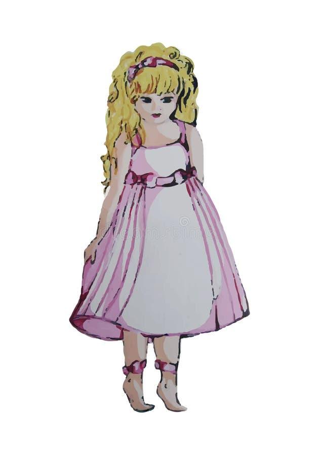 Ejemplo pintado a mano de un niño Una muchacha en un vestido rosado libre illustration