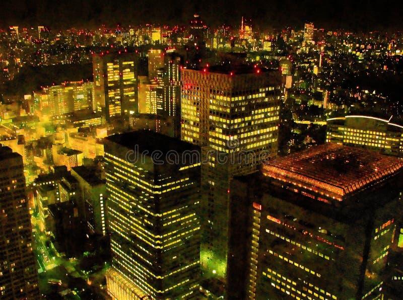 Ejemplo pintado a mano del arte de la acuarela colorida: vista nocturna panorámica del paisaje urbano de la ciudad de Tokio, Japó libre illustration