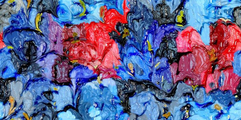 Ejemplo pintado a mano del arte de la pintura al óleo colorida: textura abstracta en la lona, fondo libre illustration