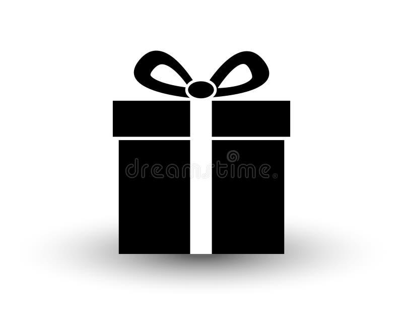 Ejemplo plano blanco y negro del vector del icono del presente del regalo con stock de ilustración