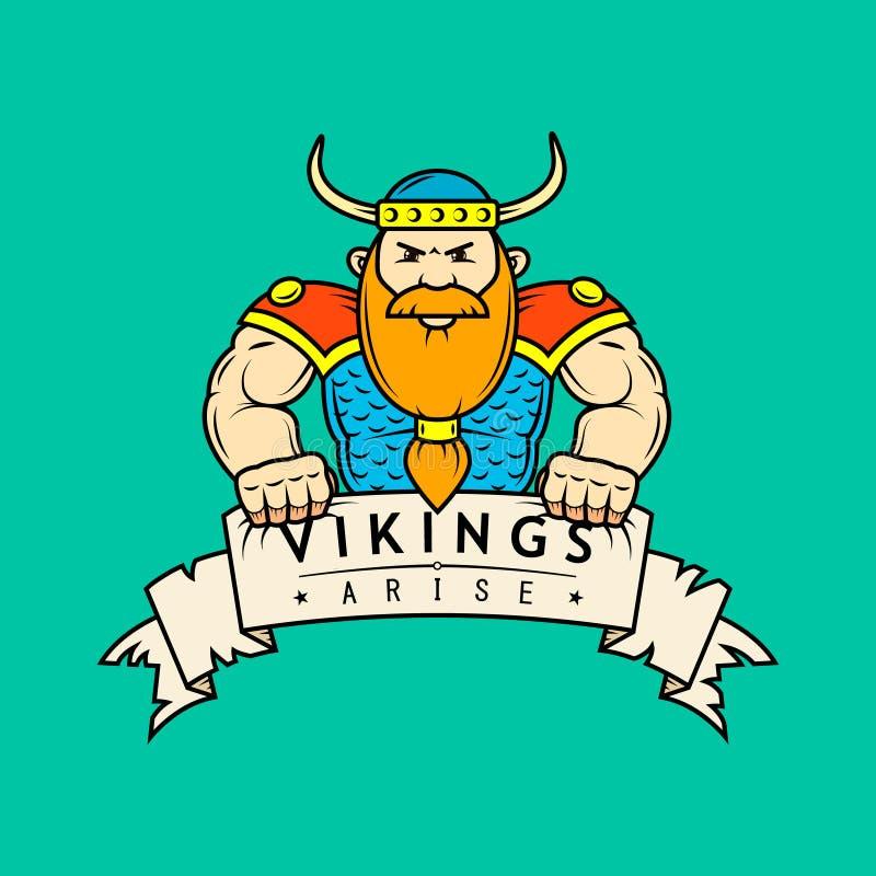 Ejemplo plano coloreado del arte de la historieta Viking con la bandera libre illustration