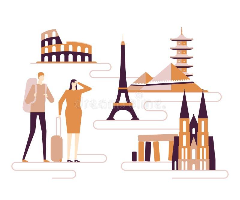 Ejemplo plano colorido del estilo del dise?o del viaje en todo el mundo - stock de ilustración