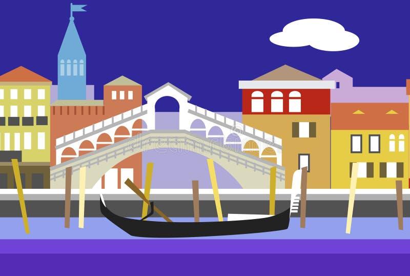 Ejemplo plano colorido del vector del estilo de la ciudad de Venecia Paisaje urbano con el terraplén, los edificios y la góndola  ilustración del vector