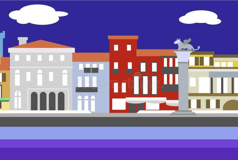Ejemplo plano colorido del vector del estilo de la ciudad de Venecia Paisaje urbano con el terraplén y los edificios Composición  ilustración del vector