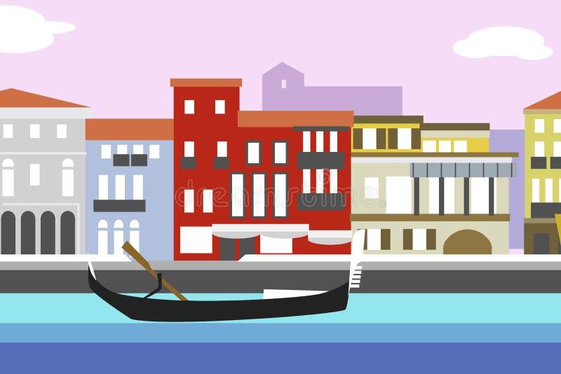 Ejemplo plano colorido del vector del estilo de la ciudad de Venecia Paisaje urbano con el terraplén y los edificios Composición  stock de ilustración