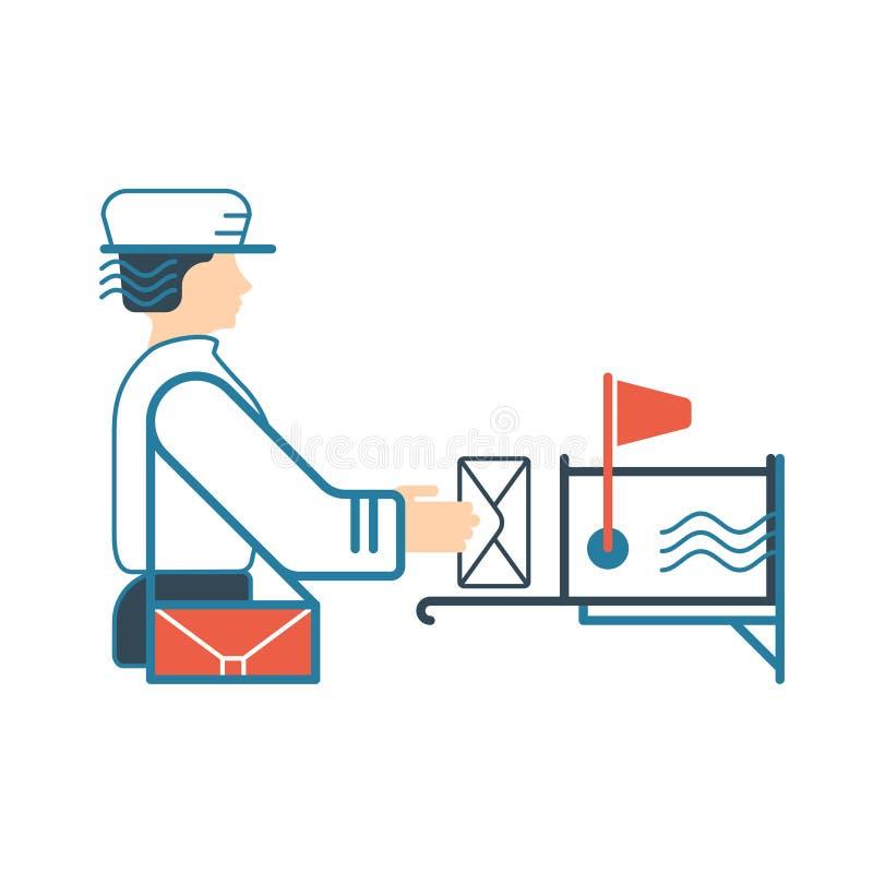 Ejemplo plano con el cartero y el buzón fotos de archivo libres de regalías