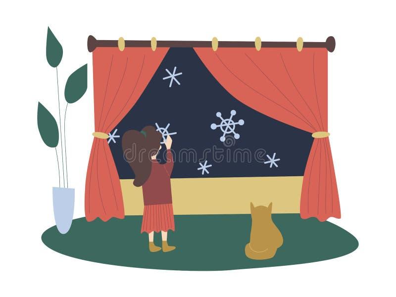 Ejemplo plano con las decoraciones festivas de la Navidad, muchacha que pone encima de los copos de nieve falsos, gato de la Navi stock de ilustración