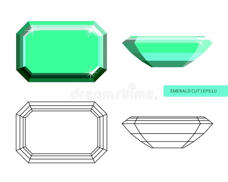 Ejemplo plano cortado esmeralda del estilo libre illustration