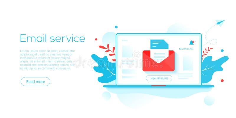 Ejemplo plano creativo del vector del servicio de correo electrónico Concepto del mensaje del correo electrónico como parte del m ilustración del vector