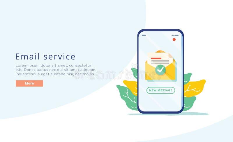 Ejemplo plano creativo del vector del servicio de correo electr?nico Concepto del mensaje del correo electr?nico como parte del m ilustración del vector