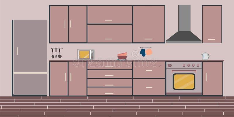 Ejemplo plano de cena interior de la cocina ilustración del vector