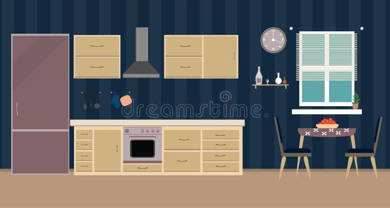 Ejemplo plano de cena interior de la cocina stock de ilustración
