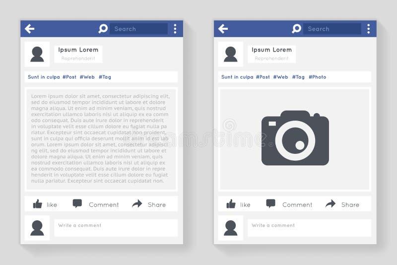 Ejemplo plano de charla del vector del diseño de la mensajería de la red del marco de la foto del concepto del mensaje social de  libre illustration