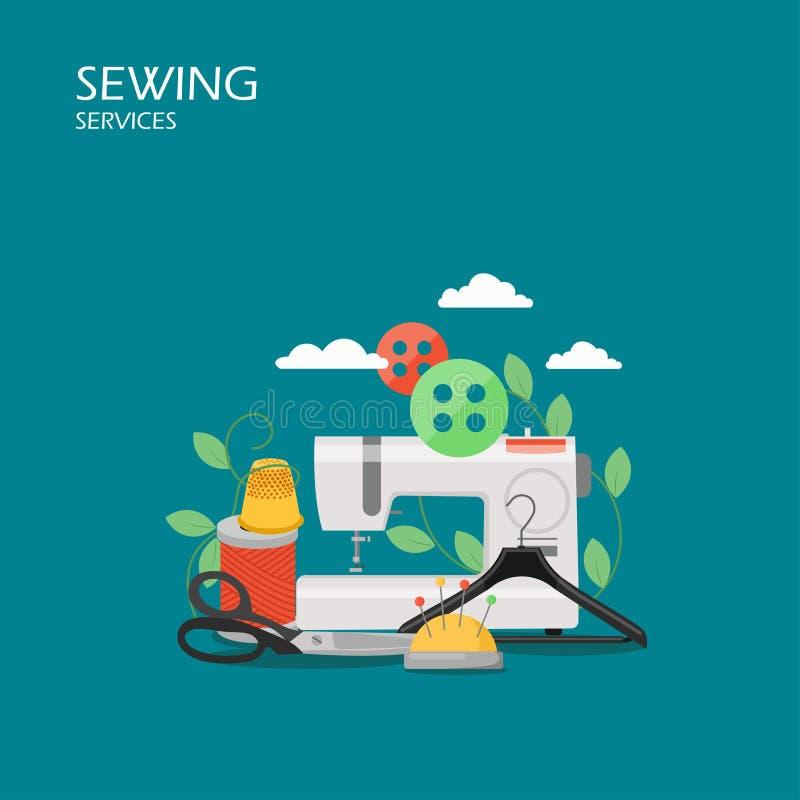 Ejemplo plano de costura del diseño del estilo del vector de los servicios libre illustration