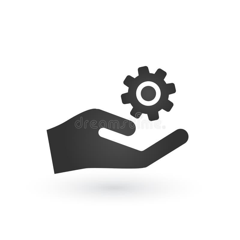 Ejemplo plano de Gear Service Hand del mecánico gris de la mano del servicio del engranaje del mecánico Ilustración aislada en bl libre illustration