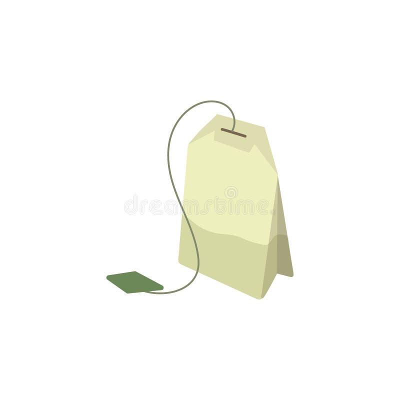 Ejemplo plano de la bolsita de té verde del vector aislado stock de ilustración