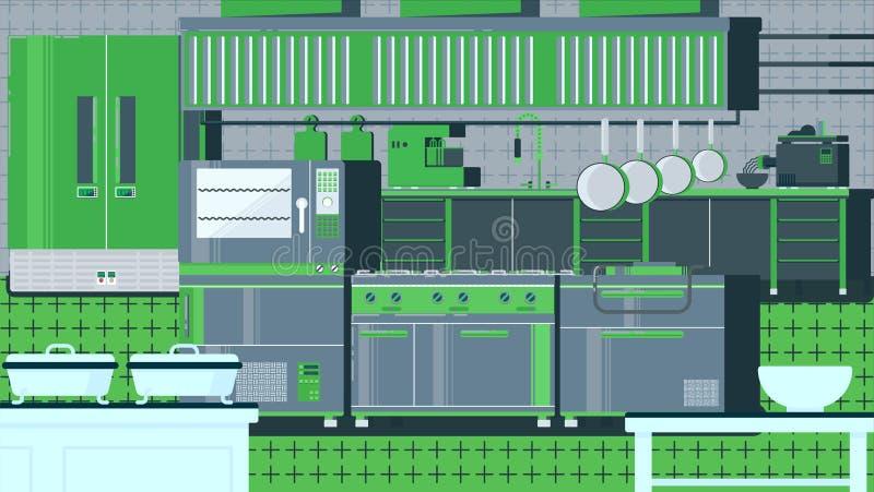 Ejemplo plano de la cocina stock de ilustración
